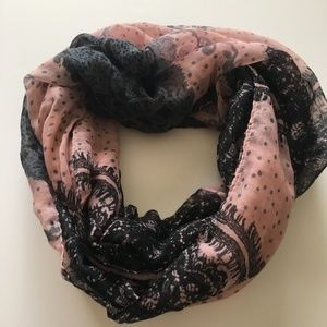 Maurice's Pink and Grey Designed Infinity Scarf